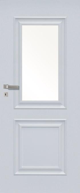 Pol-skone Inverno 01SD, okleina, drzwi ramowe, wypełnione płytą wiórową pełną, szyba hartowana, biały mat, dostępne także jako drzwi wyższe nawet o 200 mm