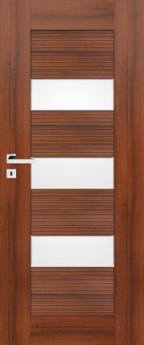 Sempre Onda W03 Pol-skone, w kolorze orzech premium, ryflowane wstawki, drzwi przylgowe i bezprzylgowe, szyba biały mat