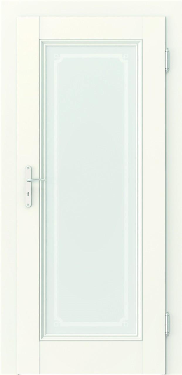 Porta Villadora Retro Empire1, białe w naturalnej okleinie, duża ozdobna szyba