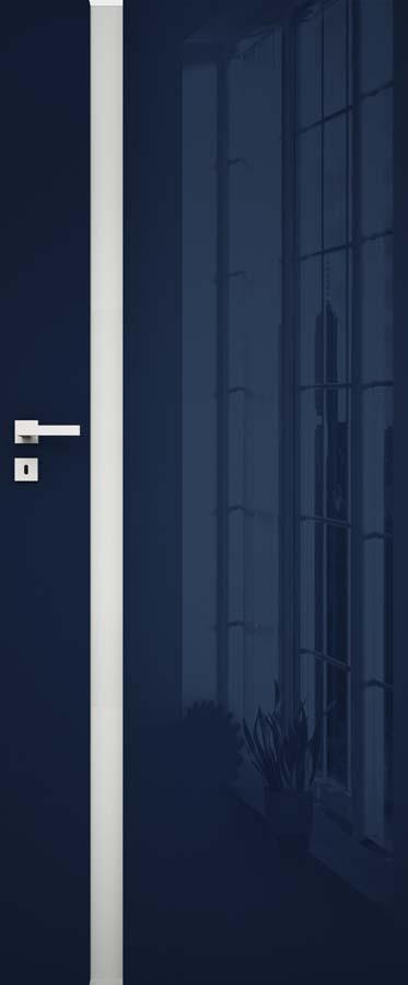 drzwi w połysku w kolorze granatowym i przezroczysta szyba