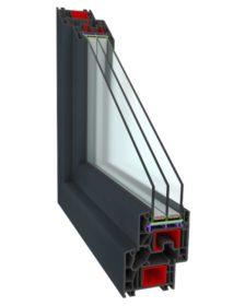 okno energooszczędne w kolorze antracyt, 3 szyby