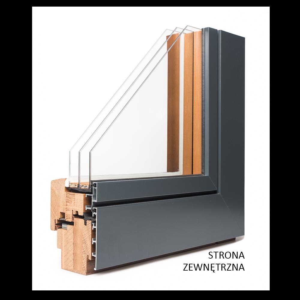 okno drewniano - aluminiowe nakładka w kolorze antracyt