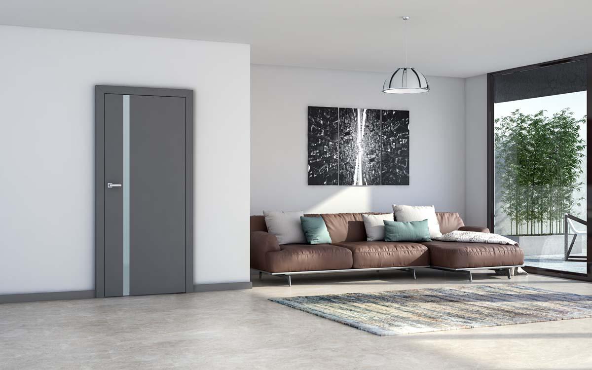 drzwi z ukrytymi zawiasami, drzwi w kolorze antracyt, wąska szybka pionowa