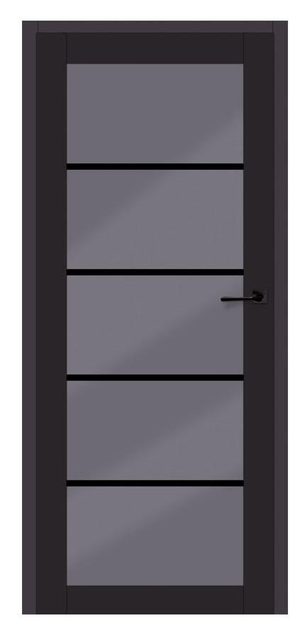 drzwi w czarnym matowym kolorze z dużą grafitową szybą w poprzeczne paski