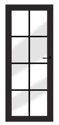 bezprzylgowe drzwi z dużym przezroczystym przeszkleniem podzielonym na mniejsze pola